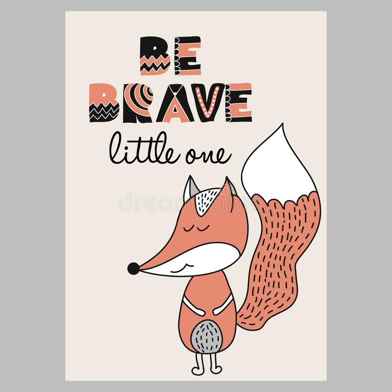 Sea pequeño el valiente - garabato exhausto de la mano divertida, carácter del zorro de la historieta ilustración del vector