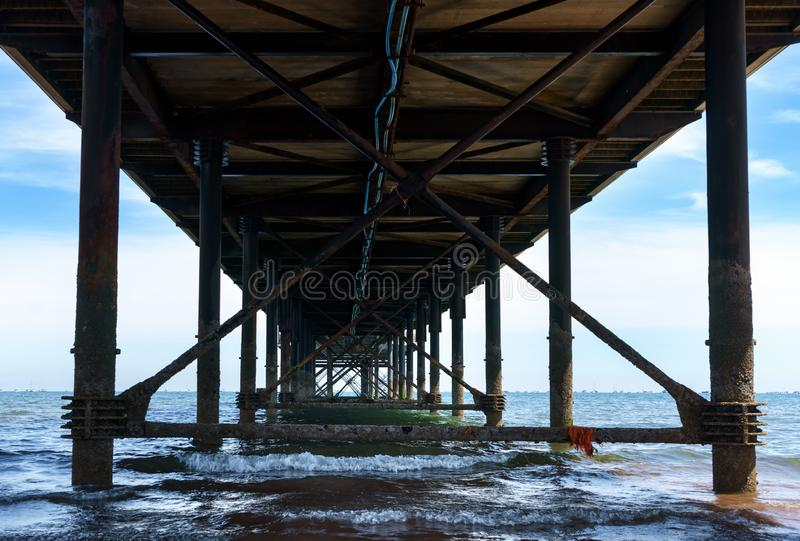 Sea pier in english riviera with beach and blue sky.  royalty free stock photos