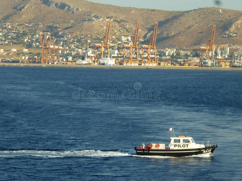 Sea Pilot boat in action royalty free stock images