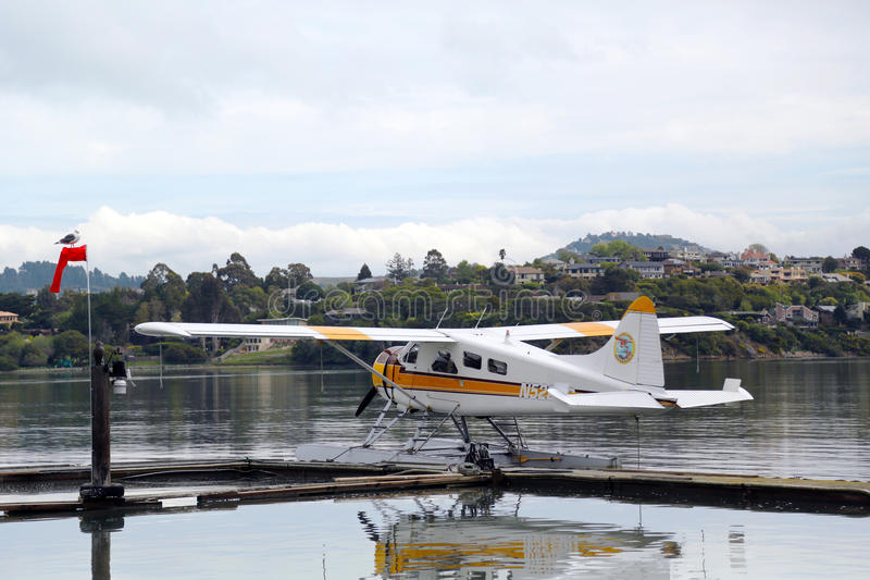Sea plane adventures DHC-2 Beaver aircraft ready to fly with tourists over San Francisco Bay royalty free stock photos
