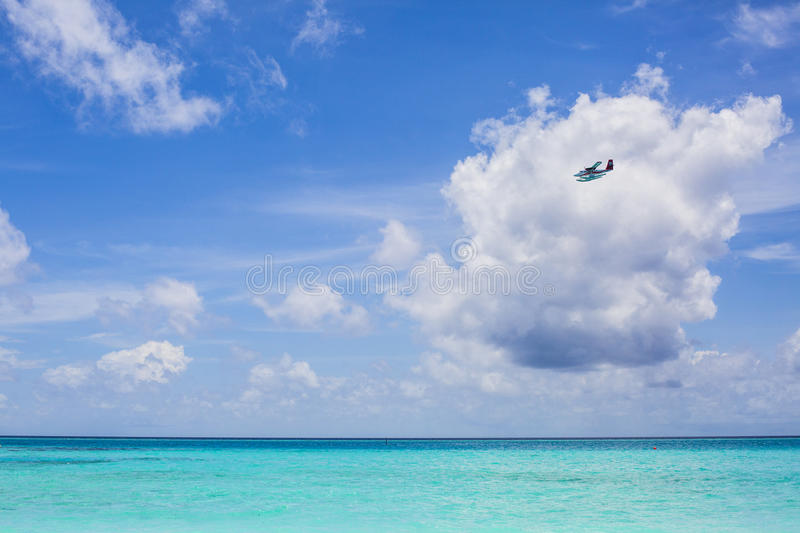 Download Sea plane in Maldives stock image. Image of indian, propeller - 75985879
