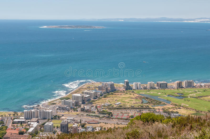 Sea Point and Robben Island royalty free stock photo