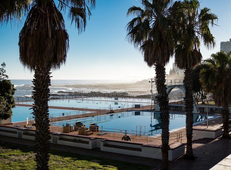 Sea Point swimming pool Cape Town. Sea Point swimming pool Lido Cape Town stock photos