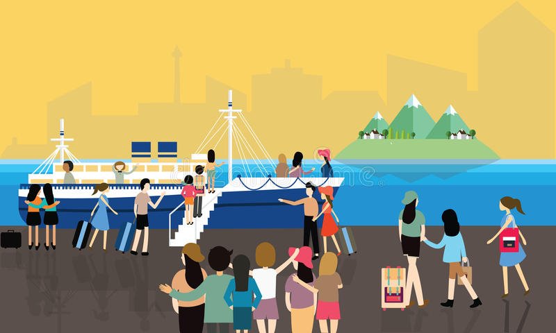 Sea port busy activities people passenger entering the boat to cruise travel vector illustration