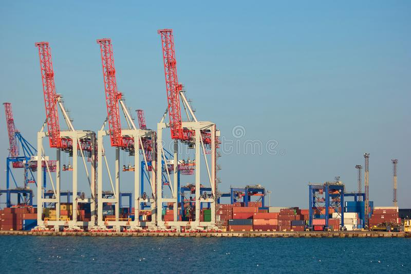 Sea port containers. Containers wit cargo and red cranes in a sea port stock photos