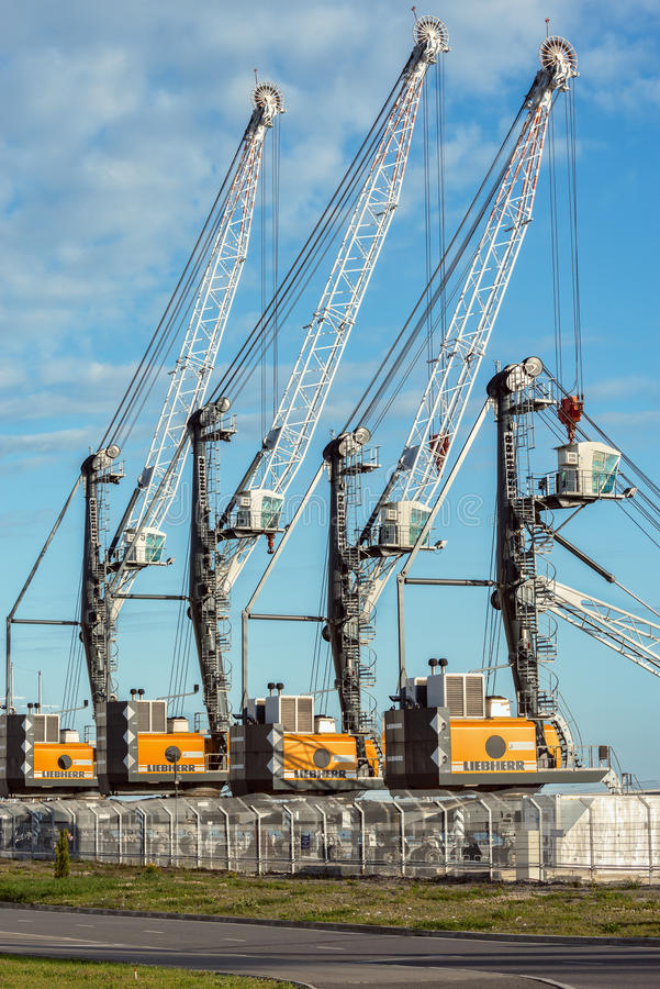 Sea port with cranes. stock photography