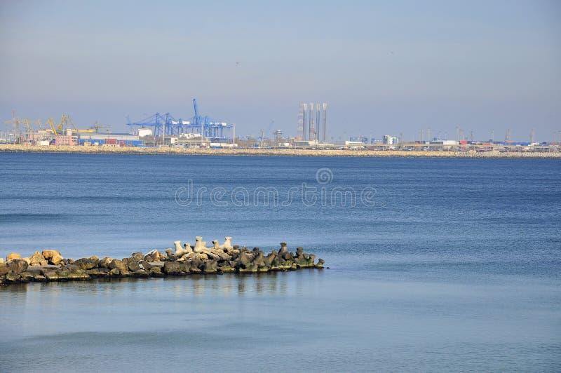 Sea port and dam stock photos