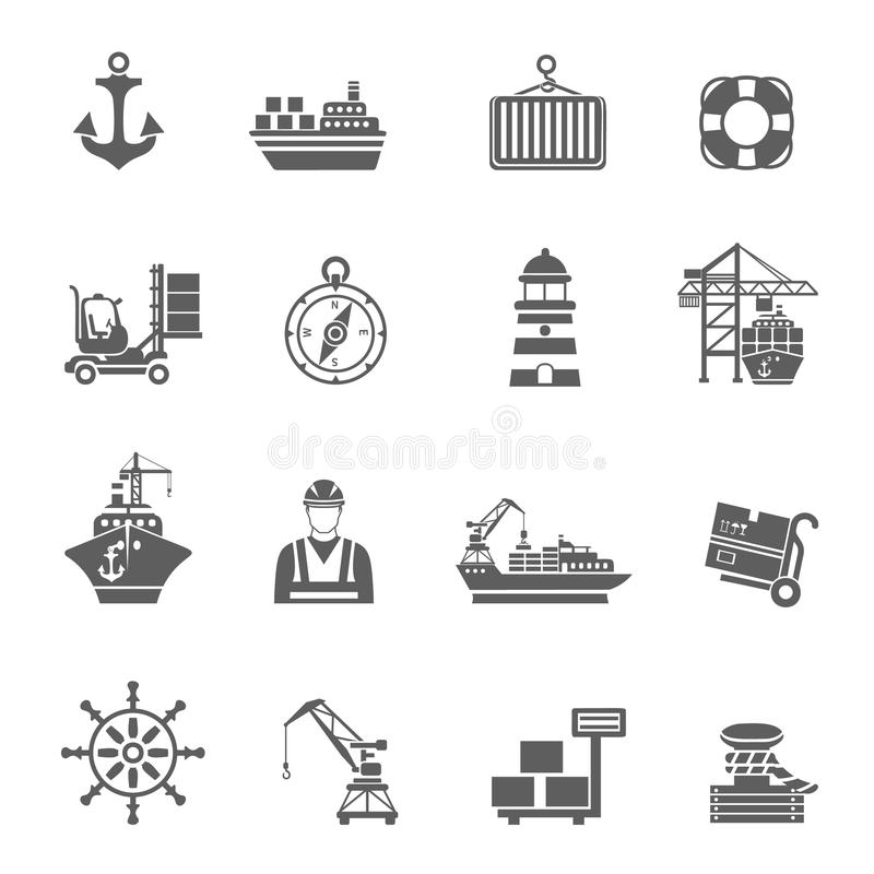 Sea Port Icons stock illustration