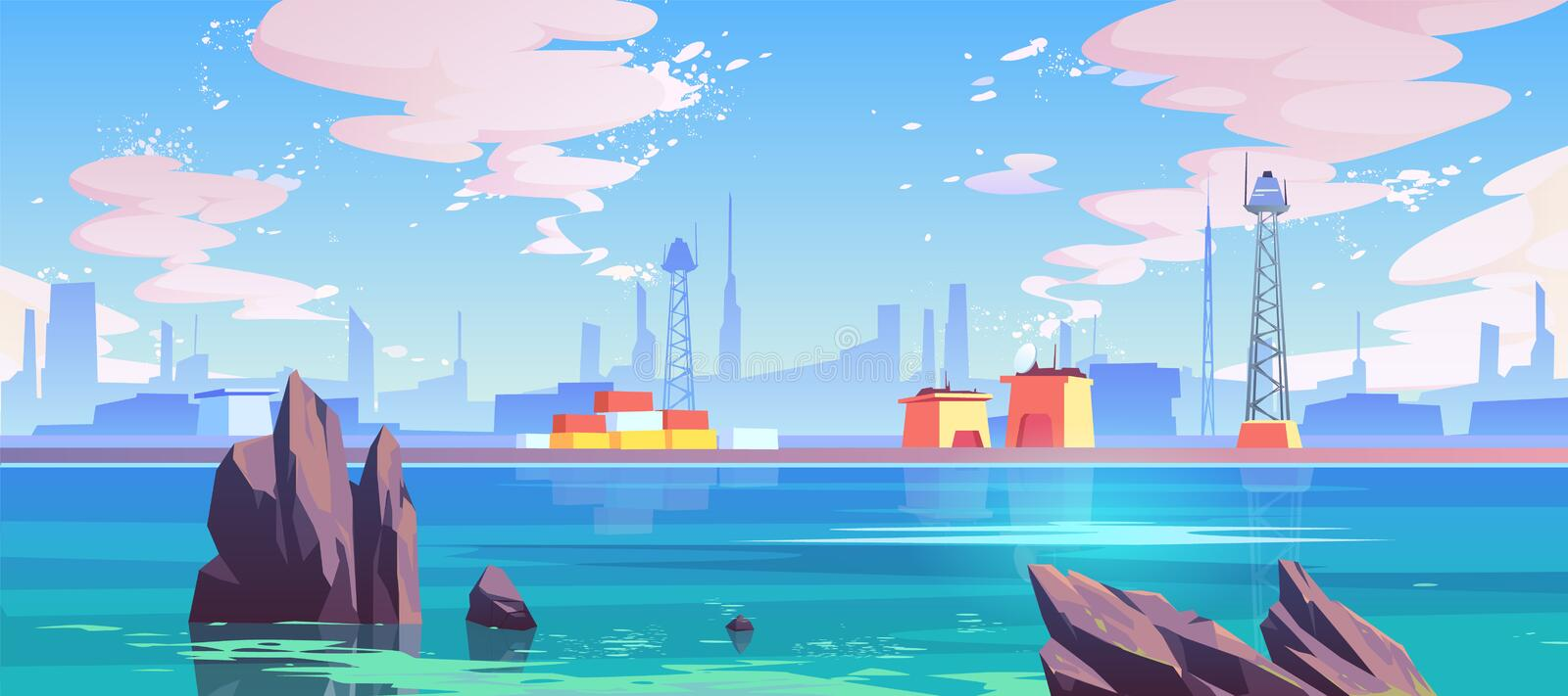 Sea port industrial shipyard with cargo containers. Sea port, industrial shipyard with cargo logistic containers for goods and telecommunication towers at stock illustration