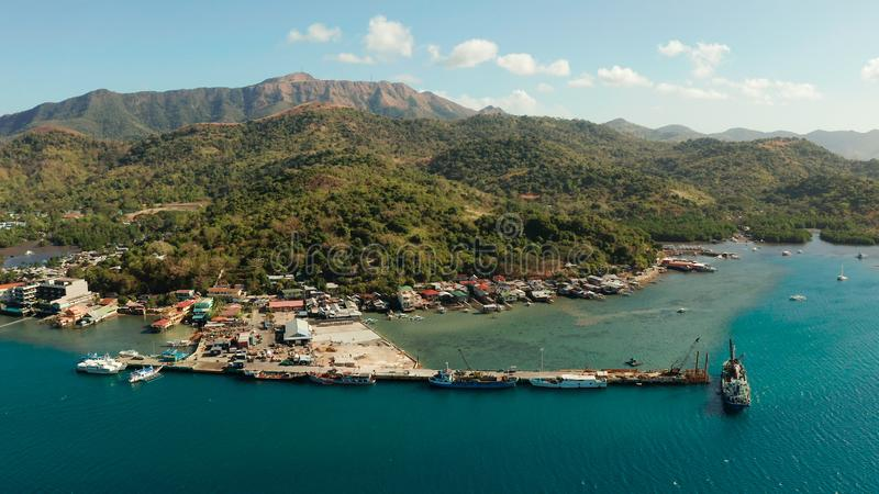 Sea port on the island of Busuanga, Philippines,Coron. Aerial view ferry port in the city of Coron, on the island Busuanga, Philippines.Ferries transport stock photos