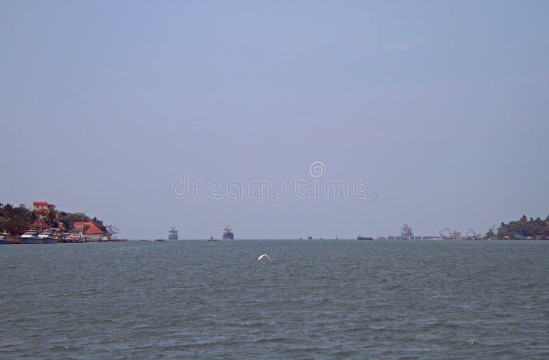 Sea port of Kochi, India. Ships in sea port of Kochi, India stock photo