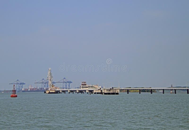 Sea port of Kochi, India. Ships in sea port of Kochi, India royalty free stock photo