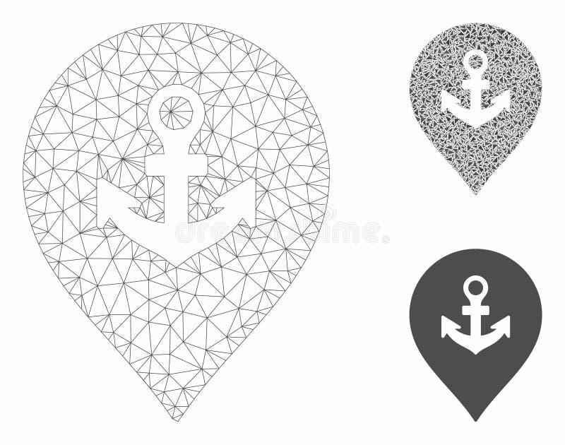 Sea Port Marker Vector Mesh Carcass Model and Triangle Mosaic Icon. Mesh sea port marker model with triangle mosaic icon. Wire frame triangular mesh of sea port stock illustration