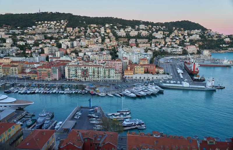 Sea port in Nice stock photography