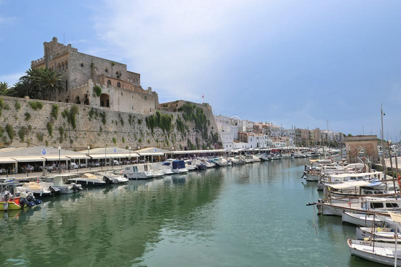 Sea port in old town of Ciutadella on Menorca island stock image