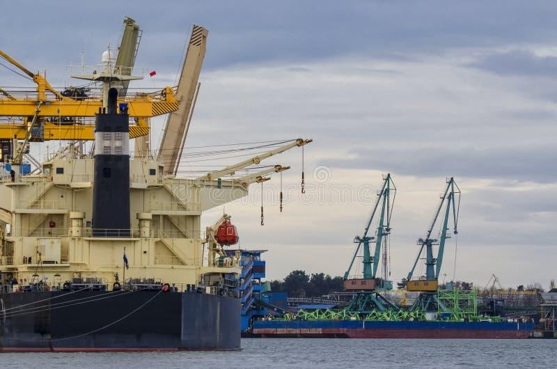 Sea port of Swinoujscie. Port in Swinoujscie, the ship at the wharf stock photography