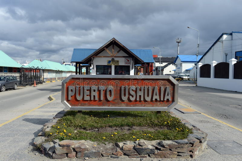 Sea port of Ushuaia - the southernmost city of the Earth stock photography