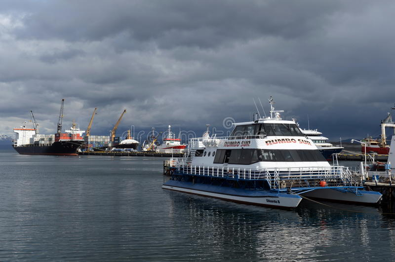 Sea port of Ushuaia - the southernmost city in the world. royalty free stock images