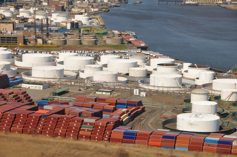 Sea ports of Hudson River aerial stock photo