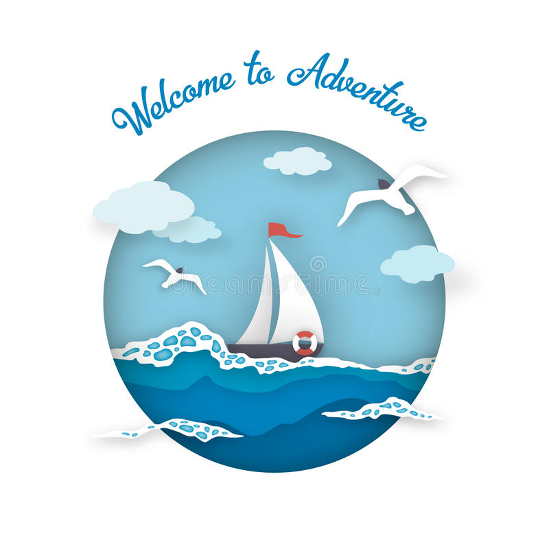Sea postcard adventure style paper art stock illustration