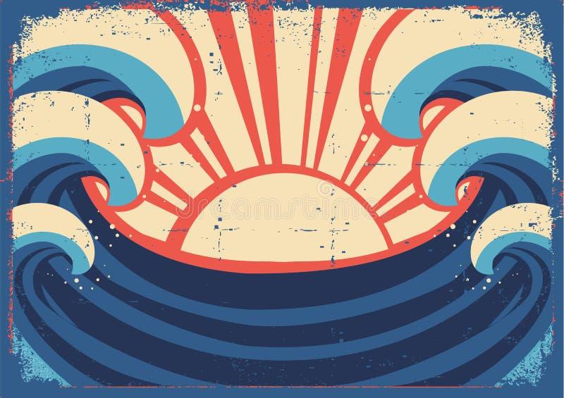 Sea poster.Grunge illustration royalty free illustration