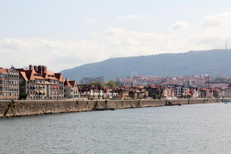 A promenade in Getxo, Bilbao, Spain. A sea promenade in Getxo in Basque country in Spain royalty free stock images