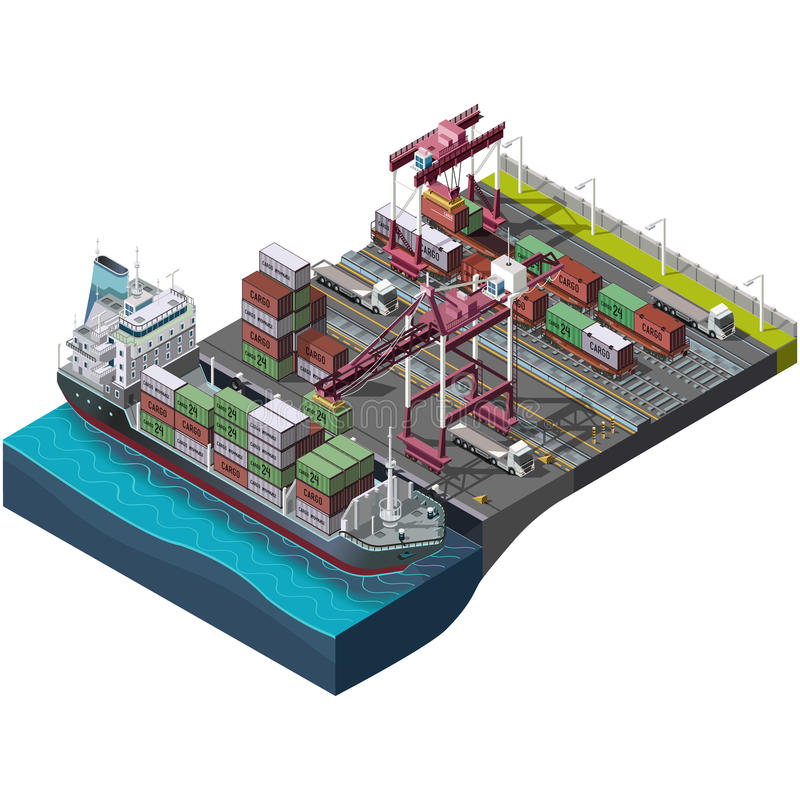 Sea and rail transportation of goods,delivery cargo. Vector set with industrial construction cranes.Loading,unloading of containers.Territory of the port stock illustration