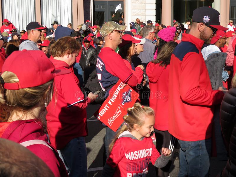 Sea of Red Fans on Pennsylvania Avenue stock photography