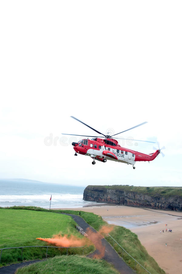 Sea rescue flare stock photos