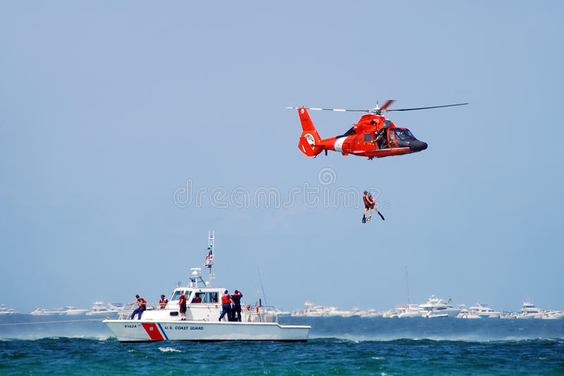 Sea rescue operation stock image