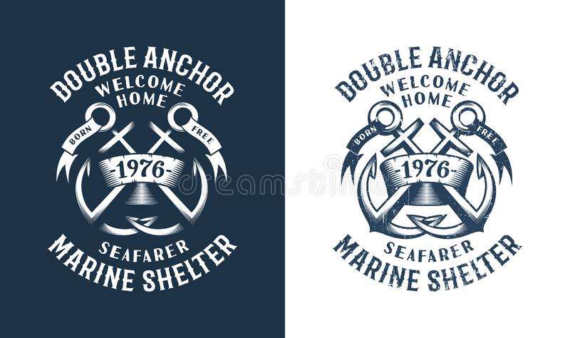 Sea Retro emblem with crossed anchors vector illustration