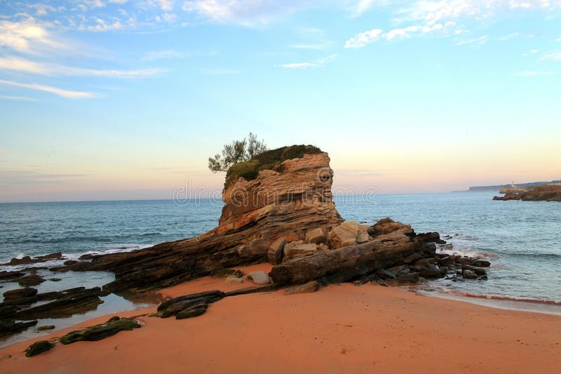 The sea and a rock stock photography
