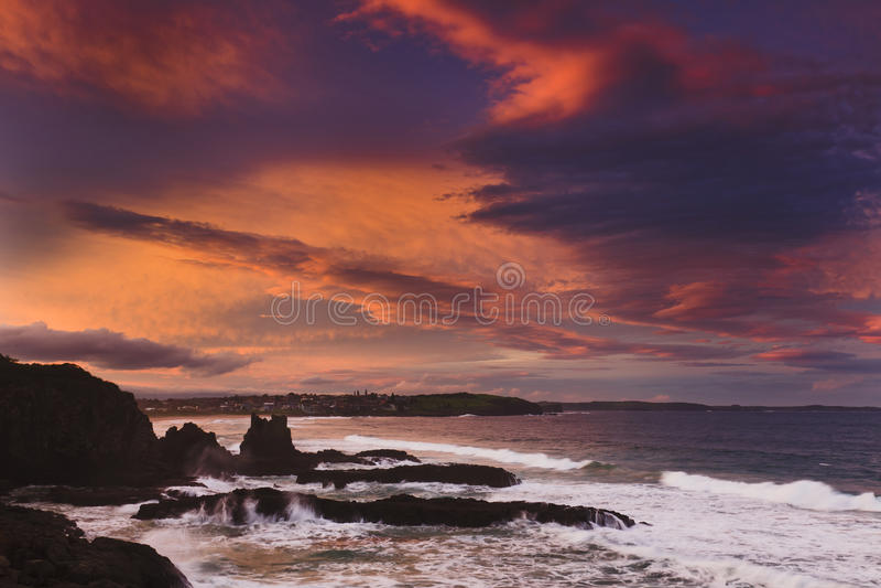Sea Rocks Dusk Hor Kiama Stock Photography