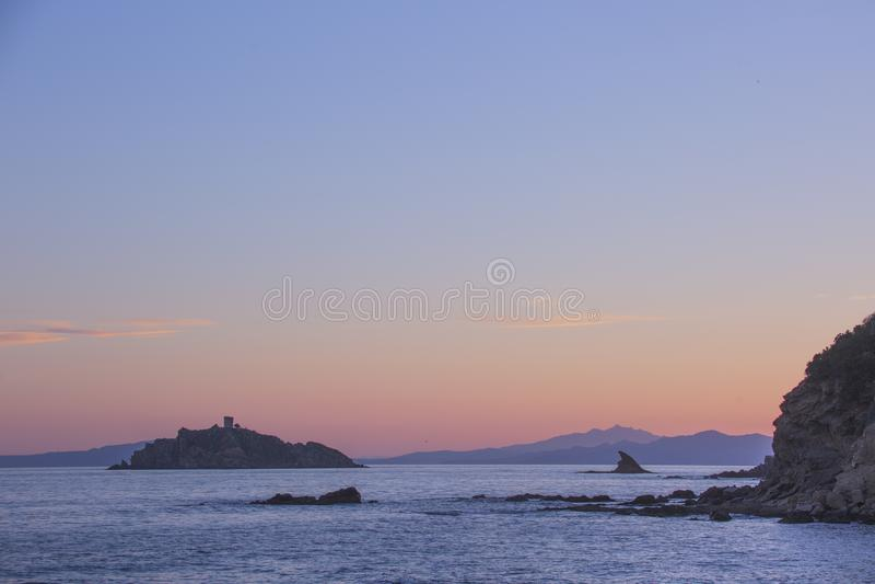 Sea rocks in Punta Ala. Italy landscape. Sea rocks in Punta Ala. Italy sunset landscape royalty free stock images