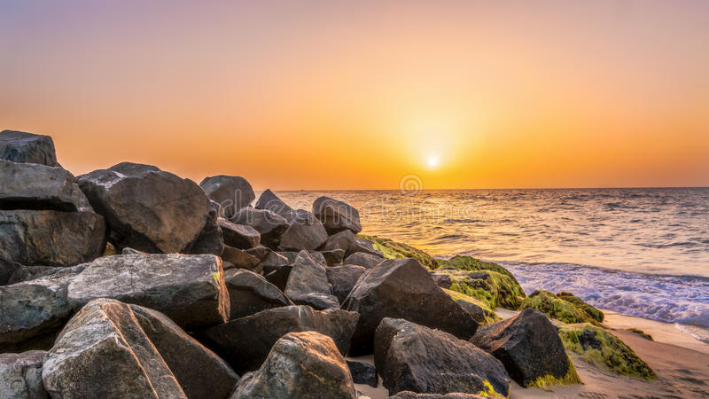 Sea Rocks on Sunset royalty free stock image