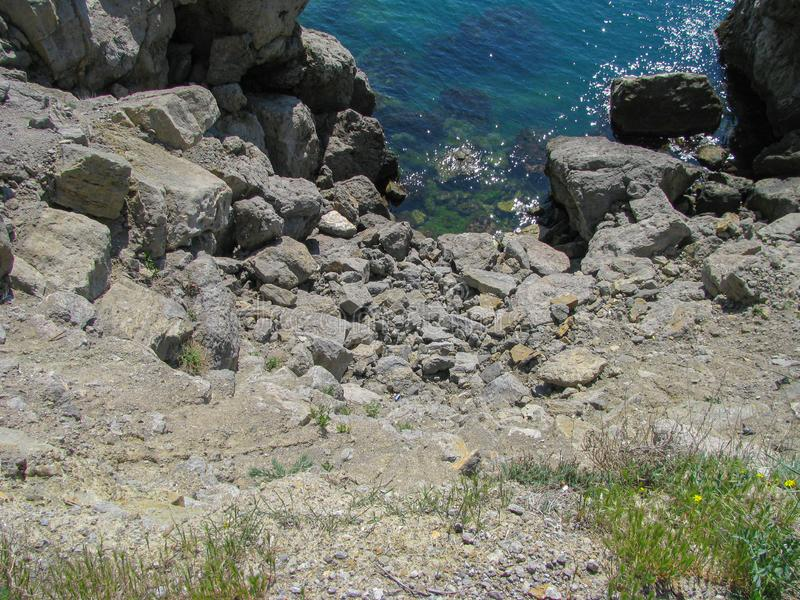 Sea Rocky Coast, Clear Blue Water royalty free stock image