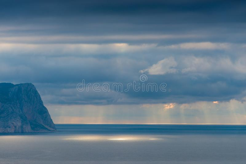 Sea and rocky shore beautiful scenic landscape. With dramatic sky stock image