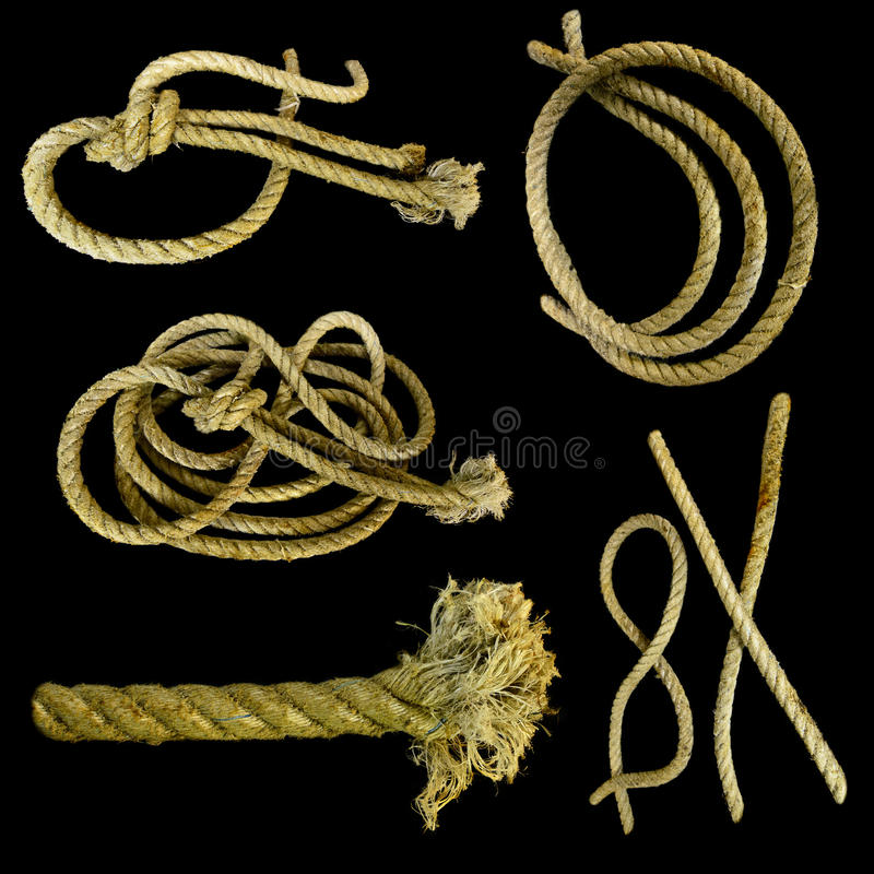 Sea ropes set. Collection of sea ropes and knots isolated on black stock images
