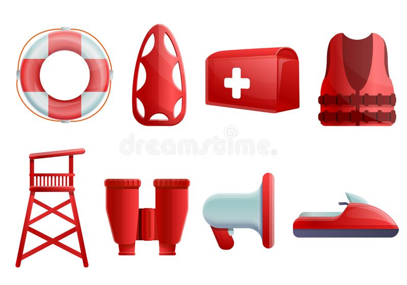 Sea safety icons set, cartoon style vector illustration
