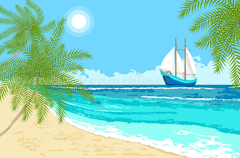 Sea with sailboat and palms branches stock photos