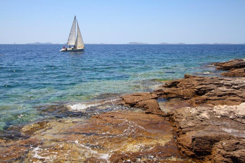 Sea sailing in Croatia stock photography