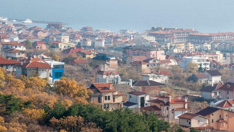Sea and Saint Vlas, Bulgaria stock photo