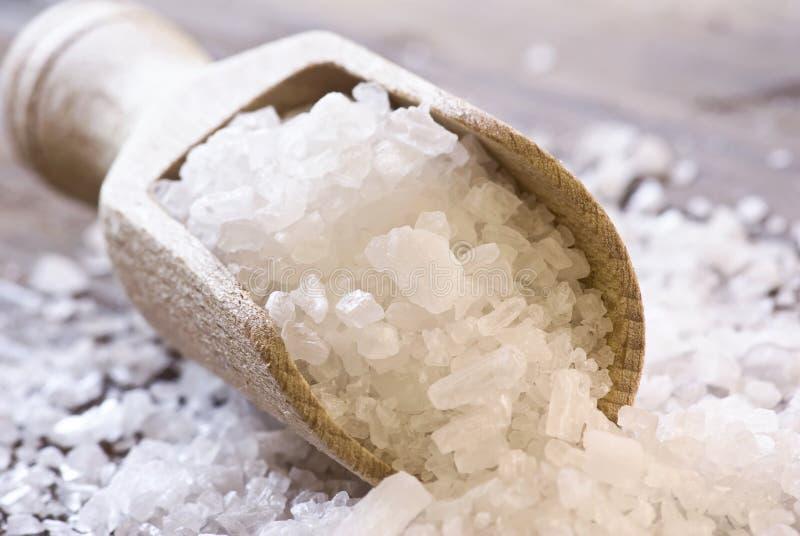 Sea Salt. On a Shovel as closeup stock photography