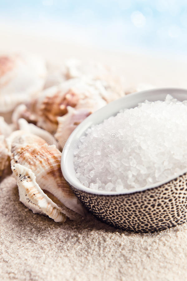 Sea salt and cockleshells. On a beach royalty free stock photography