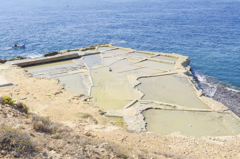 Sea salt evaporation ponds on sea shore. In Malta on a sunny summer day stock image