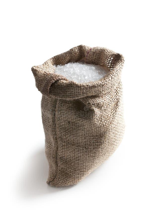 Sea salt in jute sack