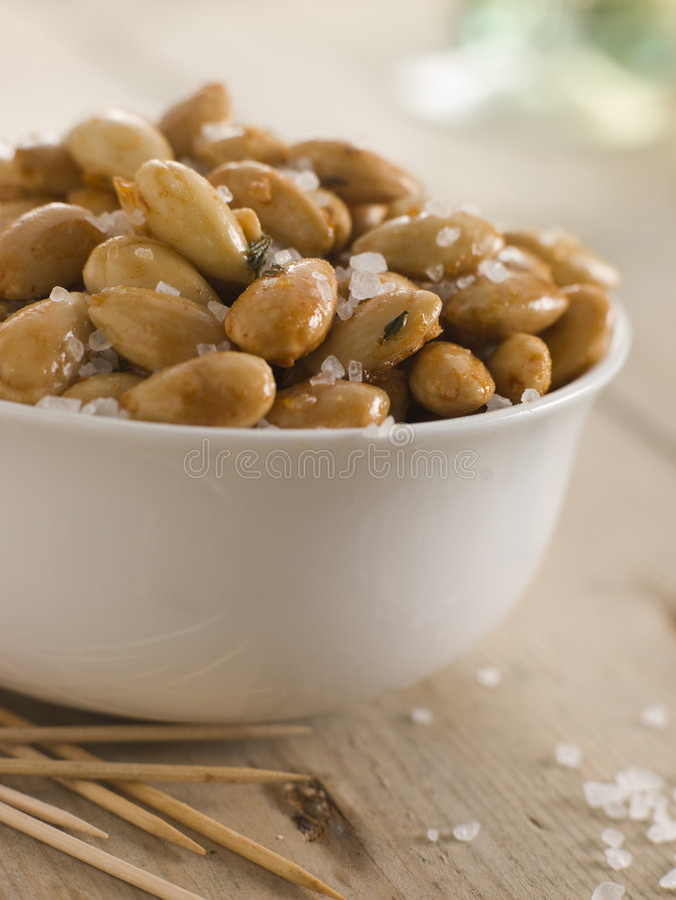 Download Sea Salt Roasted Almonds stock photo. Image of indoor - 5950548