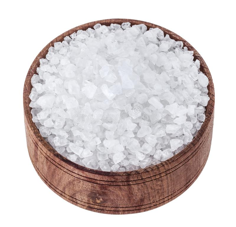 Sea salt isolated on white background royalty free stock photos
