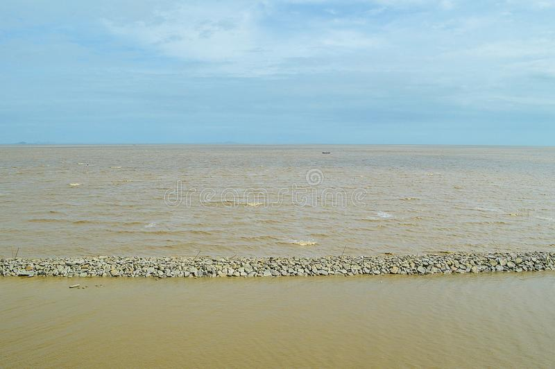 Sea in Samutprakarn at Thailand. Close up sea in Samutprakarn at Thailand royalty free stock images