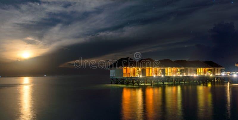 Sea Sand Beach at Meeru Island, Maldives May 2017. royalty free stock photos